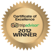 trip advisor certificate of excellence award 2012