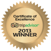 trip advisor certificate of excellence award 2013
