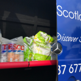 Foodbank donations in the coach