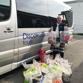 Michael O'Brien with foodbank donations