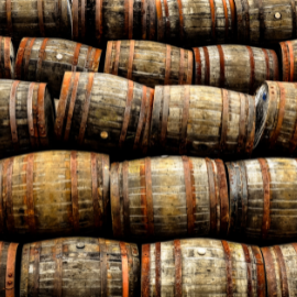 whisky casks within a distillery